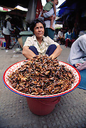 A Cambodian saleswoman with a tray full of fried grasshoppers, one of many varieties found in Phnom Penh's Central Market, Phnom Penh, Cambodia. Image from the book project Man Eating Bugs: The Art and Science of Eating Insects.