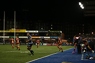 players run out. Guinness Pro14 rugby match, Cardiff Blues v Dragons at the Cardiff Arms Park in Cardiff, South Wales on Friday 6th October 2017.<br /> pic by Andrew Orchard, Andrew Orchard sports photography.