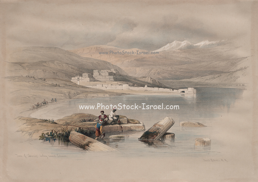 Town of Tiberias Looking Towards Lebanon Color lithograph by David Roberts (1796-1864). An engraving reprint by Louis Haghe was published in a the book 'The Holy Land, Syria, Idumea, Arabia, Egypt and Nubia. in 1855 by D. Appleton & Co., 346 & 348 Broadway in New York.