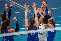 Fleur Savelkoel #6 of Sliedrecht Sport  in action during the supercup semifinal between VC Sneek and Sliedrecht Sport on October, 03 2020 in Van der Knaaphal, Ede