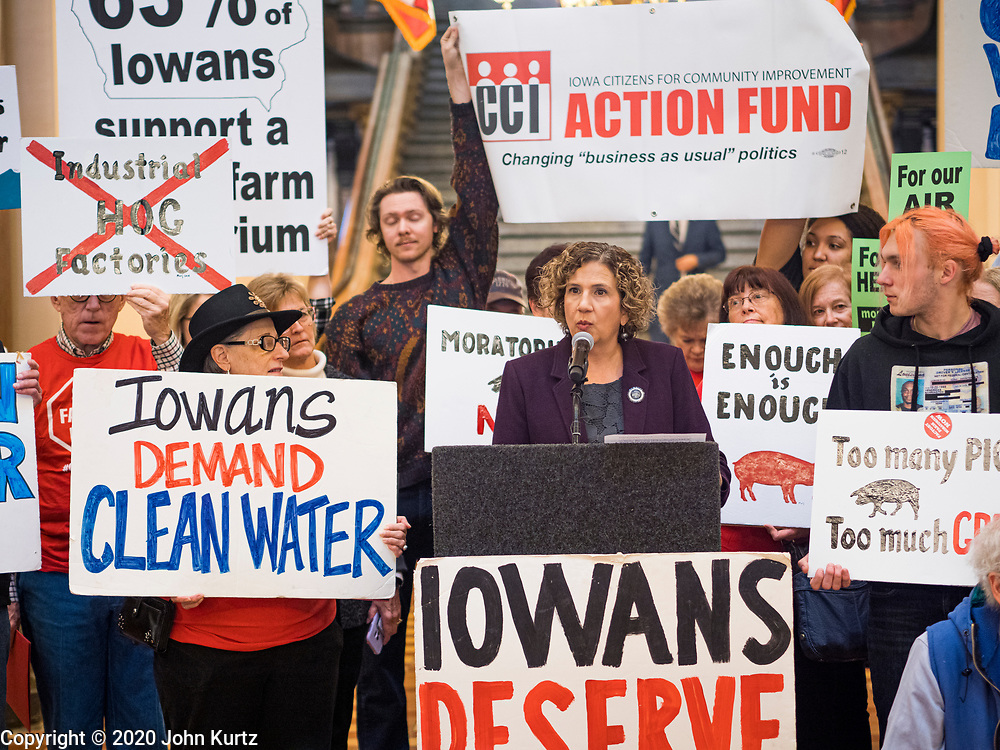 23 JANUARY 2020 - DES MOINES, IOWA: Iowa State Senator CLAIRE CELSI (D) speaks during a rally in the Iowa State Capitol against factory farming. About 75 people, including farmers, environmental activists, and supporters of family farms, came to a protest in the rotunda of the state capitol in Des Moines. They are trying to pressure Iowa lawmakers to pass a moratorium against new factory farm construction in Iowa.      PHOTO BY JACK KURTZ