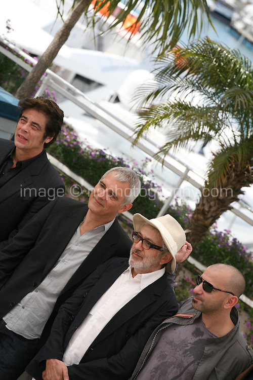 Benicio Del Toro, Laurent Cantet, Elia Suleiman, Pablo Trapero, at the 7 Dias En La Habana photocall at the 65th Cannes Film Festival France. Wednesday 23rd May 2012 in Cannes Film Festival, France.