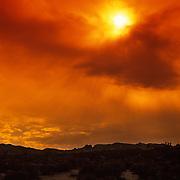 Brilliant sunset over the Mojave Desert in Joshua Tree National Park, CA.