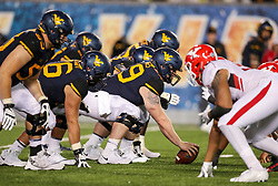 Sep 8, 2018; Morgantown, WV, USA; West Virginia Mountaineers offensive lineman Matt Jones (79) pauses before snapping the ball during the third quarter against the Youngstown State Penguins at Mountaineer Field at Milan Puskar Stadium. Mandatory Credit: Ben Queen-USA TODAY Sports