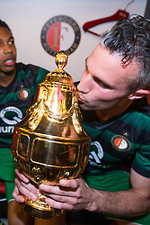 Robin van Persie of Feyenoord, cup, trophy, dressing room during the Dutch Toto KNVB Cup Final match between AZ Alkmaar and Feyenoord on April 22, 2018 at the Kuip stadium in Rotterdam, The Netherlands.