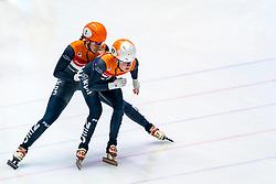 Suzanne Schulting, Yara van Kerkhof in action on the 3000 meter relay during ISU World Cup Finals Shorttrack 2020 on February 15, 2020 in Optisport Sportboulevard Dordrecht.