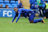 Kenneth Zohore of Cardiff city looks on. EFL Skybet championship match, Cardiff city v Derby County at the Cardiff city stadium in Cardiff, South Wales on Saturday 30th September 2017.<br /> pic by Andrew Orchard, Andrew Orchard sports photography.