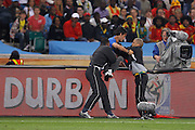 ©Jonathan Moscrop - LaPresse<br /> 07 07 2010 Durban ( Sud Africa )<br /> Sport Calcio<br /> Germania vs Spagna - Mondiali di calcio Sud Africa 2010 Semi finale - Durban Stadium<br /> Nella foto: invasore di campo<br /> <br /> ©Jonathan Moscrop - LaPresse<br /> 07 07 2010 Durban ( South Africa )<br /> Sport Soccer<br /> Germany versus Spain - FIFA 2010 World Cup South Africa Semi final - Durban Stadium<br /> In the Photo: a pitch invader is ecorted from the field
