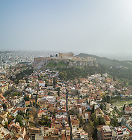 Aerial view of Acropolis of Athens, ancient citadel located on a rocky outcrop above the city of Athens