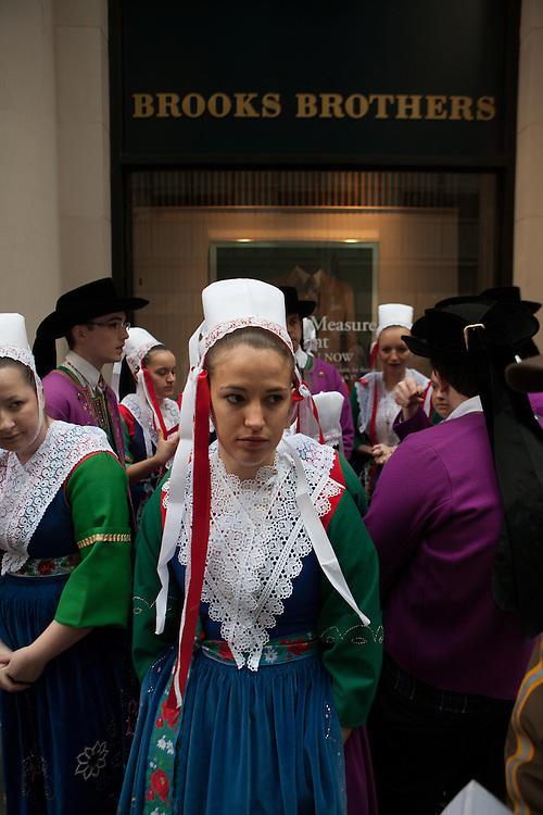 Dancers from Bagad Plougastell beside the Brooks Brothers store in Manhattan.