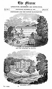 Richard Arkwright (1732-1792). British industrialist and inventor. Water-powered spinning frame. Top: Cotton mill at Cromford, Wirksworth, Derbyshire which Arkwright fitted with his water frame. Bottom: Willersley Castle, the house Arkwright built for him