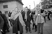 SIR NORMAN ROSENTHAL; MARK WALLINGER; ANDREW LOGAN, , INTERCOURSE: Re-enacting Eisenstein: The Odessa Steps Sequence from Battleship Potemkin<br /> Jane and Louise Wilson directed the re-enactment on the steps outside the ICA. 26 November 2011.