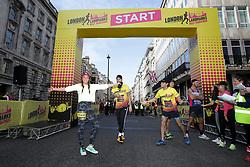 Michelle Heaton (left) on the start line during the 2019 London Landmarks Half Marathon.