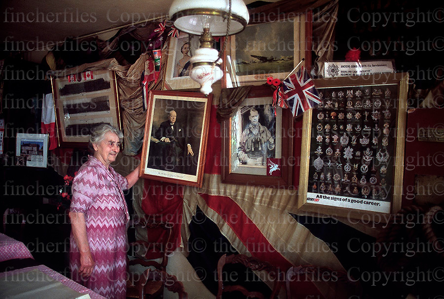 Madam Condree,owner of the Bridge Cafe at Benouville, Normandy, France. Her cafe was the first building to be liberated by the Allied Forces after the D.Day landings. Photographed by Terry Fincher