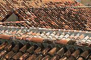 Tile roofs, Cartagena de Indias, Bolivar Department,, Colombia, South America.