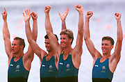 Atlanta, Georgia, USA., AUS M4-, 1996 Olympics Games, Oarsome Foursome.,   Stroke Mike McKay, Nick Green,  James Tomkins, Drew Ginn, Mandatory Credit Peter SPURRIER,