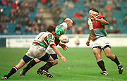 1997 Heineken European Cup,, NEC Harlequins V Leicester Tigers, Stoop, 18-4-98 Quins Keith Woods, breaks from the ruck. Chris Sheasby [right],  [Mandatory Credit: Peter Spurrier/Intersport Images].