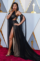 Taraji P. Henson walking on the red carpet during the 90th Academy Awards ceremony, presented by the Academy of Motion Picture Arts and Sciences, held at the Dolby Theatre in Hollywood, California on March 4, 2018. (Photo by Anthony Behar/Sipa USA)