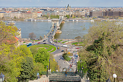 Clark Adam Square with chain bridge and cityscape in the background, Budapest, Hungary