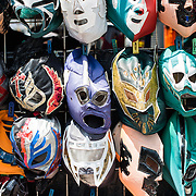 Costume masks in Basque de Chapultepec, a large and popular public park in the center of Mexico City.