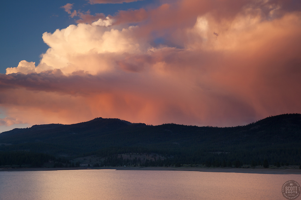 """""""Sunset at Boca Reservoir 2"""" - This colorful cloud was photographed during sunset at Boca Reservoir near Truckee, California."""