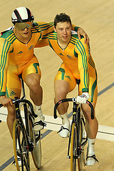Shane Perkins and Scott Sunderland of Australia after the men's sprint final held at the velodrome at the Indira Gandhi Sports Complex in New Delhi, India on the 7 October 2010..Photo by:  Ron Gaunt/SPORTZPICS/PHOTOSPORT