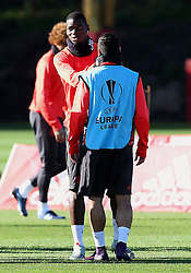Paul Pogba and Henrikh Mkhitaryan of Manchester United  - Mandatory by-line: Matt McNulty/JMP - 19/10/2016 - FOOTBALL - Manchester United - Training session ahead of Europa League game against Fenerbahce