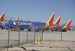 March 27, 2019 - Los Angeles, California, U.S - Southwest Airlines Boeing 737 Max 8 aircraft are parked at Southern California Logistics Airport on March 27, 2019 in Victorville, California. (Credit Image: © Ringo Chiu/ZUMA Wire)