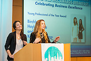 Manhattan Chamber of Commerce's 2012 Awards Breakfast celebrated business excellence by recognizing outstanding leaders. Haley Barna (l) and Katia Beauchamp (r) of  Birchbox accept the Young Professional of the Year Award. The awards were presented by Well Fargo and hosted at Con Edison's Conference Center on January 31, 2013.