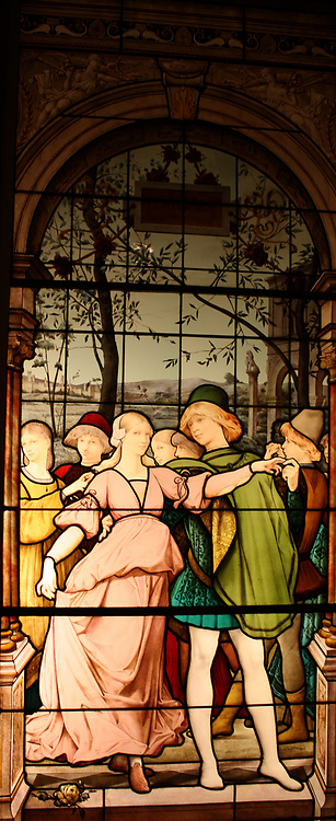Apartment Window.  La Danse Des Fiancailles (The Engagement Ball).  Executed by Eugene Oudinot (1827-1889) French (Passy), dated 1885.  The donor was the widow of Isaac Bell, a prominent New Yorker in the second half of the last century.