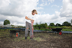 Trinity Organic Farm, Nottinghamshire - volunteer digging out weeds