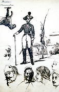 A  Cuirassier and various heads.  Pen and ink sketch by Propsper Merimee (1803-1870) Frenh dramatist, historian and archaeologist.