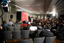 © Licensed to London News Pictures. 09/04/2018. London, UK. Empty seats at the launch event for the Labour Party local election campaign launch in central London.  Labour are expected to make gains in the capital, potentially taking traditionally Conservative strongholds. Photo credit: Ben Cawthra/LNP