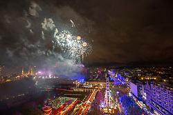 Midnight fireworks from the castle. Hogmanay in Edinburgh.