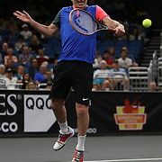Tennis legend John McEnroe is seen as he plays during the PowerShares Tennis Series event at the Amway Center on January 5, 2017 in Orlando, Florida. (Alex Menendez via AP)