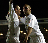 Photo. Jed Wee. Digitalsport<br /> Leeds United v Burnley, Coca-Cola Championship, 03/11/2004.<br /> Leeds' Jermaine Wright (L) celebrates with David Healy after scoring straight from the kick off to give Leeds the lead.