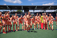 AMSTELVEEN - Justen Blok (Ned)  met beker  viert het kampioenschap tijdens de finale van het EK Hockey tussen Duitsland en Nederland in het Wagener Stadion op 12 juni 2021 in Amstelveen. COPYRIGHT KOEN SUYK