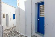 Kostos, Paros, Greece - July 2021: Street Of Kostos