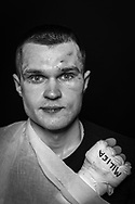 Ultimate bare-Knuckle boxing competition at Manchester's Bowlers Exhibition Centre, Old Trafford, Manchester, UK.<br /> Photo shows Tadas Ruzga from Latvia, who lost his fight against Brazilian Lucas Marshall from Brazil.<br /> Photo ©Steve Forrest/Workers' Photo