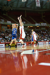 04 February 2006:  Laura Rudolphi eyes the hoop and keeps an eye on defender Lori Trumblee. The Indiana State Sycamores shook the Illinois State Redbirds from the nest with a 75-71 Victory.  There were 3,581 fans on hand, making the audience the  2nd largest women's basketball crowd ever in Redbird Arena on Illinois State University campus in Normal Illinois.