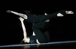 """Dancers in black at """"goodbye"""" event of Slovenian professional sports dance couple Andrej Skufca and Katarina Venturini, named Infinity is Eternity (Neskoncnost je vecnost), on March 2, 2008, in Cankarjev dom, Ljubljana, Slovenia.  (Photo by Vid Ponikvar / Sportal Images)/ Sportida)"""