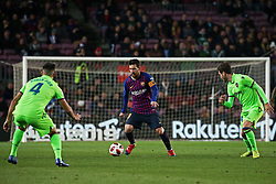 January 17, 2019 - Barcelona, Catalonia, Spain - Leo Messi and Rober Pier during the match between FC Barcelona and Levante UD, corresponding to the 1/8 final of the spanish cup, played at the Camp Nou Stadium, on 17th January 2019, in Barcelona, Spain. (Credit Image: © Joan Valls/NurPhoto via ZUMA Press)