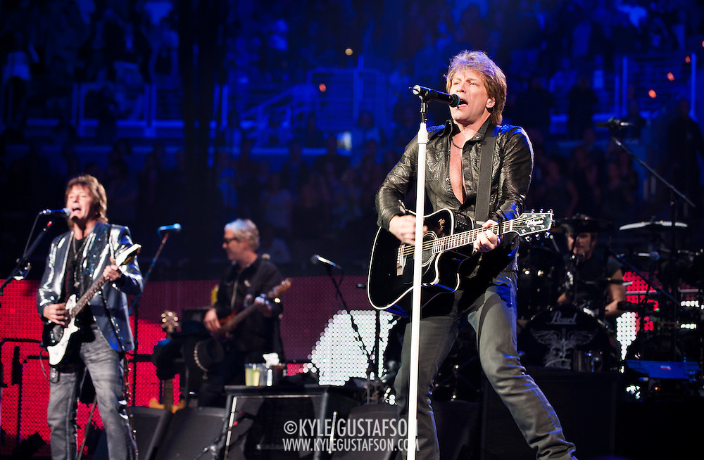 March 30, 2010 (Washington, D.C.) - Bon Jovi lead singer John Bon Jovi performs in front of a packed house at the Verizon center.  The band is currently touring behind The Circle, their 11th studio album.(Photo by Kyle Gustafson)