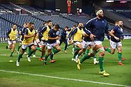 Benetton players warm up for the Guinness Pro 14 2018_19 match between Edinburgh Rugby and Benetton Treviso at Murrayfield Stadium, Edinburgh, Scotland on 28 September 2018.