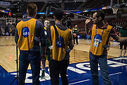 April 3, 2016; Indianapolis, Ind.; Jenna Buchanan is interviewed by an NCAA film crew during their practice session at Harvest Pavilion on the Indiana State Fair grounds.