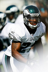 Philadelphia Eagles cornerback Joselio Hanson #21 during the Philadelphia Eagles NFL training camp in Bethlehem, Pennsylvania at Lehigh University on Saturday August 8th 2009. (Photo by Brian Garfinkel)