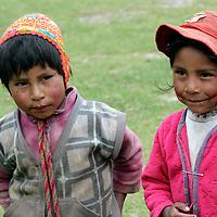 South America, Peru, Willoq. Peruvian boy and girl of Willoq.