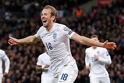 Harry Kane of England (Tottenham Hotspur) celebrates scoring a goal with a header to make it 4-0 - Photo mandatory by-line: Rogan Thomson/JMP - 07966 386802 - 27/03/2015 - SPORT - FOOTBALL - London, England - Wembley Stadium - England v Lithuania UEFA Euro 2016 Qualifier.