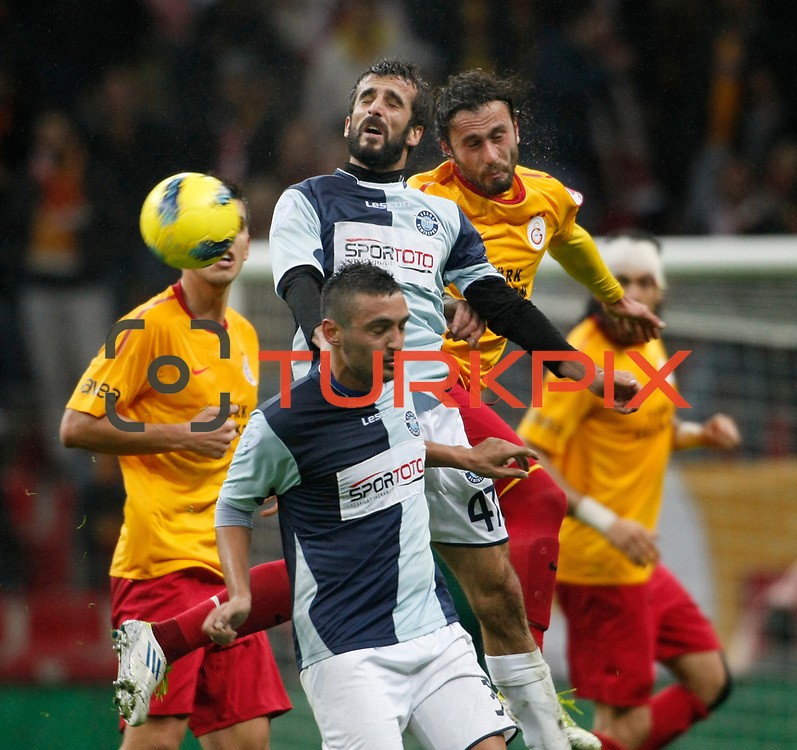 AdanaDemirspor's Ilhan Aydogdu (C) during their Turkey Cup matchday 3 soccer match Galatasaray between AdanaDemirspor at the Turk Telekom Arena at Aslantepe in Istanbul Turkey on Tuesday 10 January 2012. Photo by TURKPIX