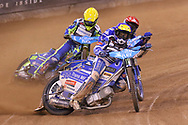 Leon Madsen in front during the 2019 Adrian Flux British FIM Speedway Grand Prix at the Principality Stadium, Cardiff, Wales on 21 September 2019.